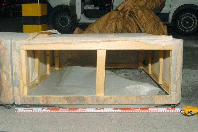 The base of a divan bed shown as evidence by the prosecution in the kidnap and false imprisonment...