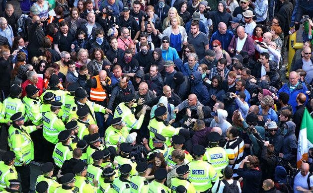 Police intervene in Liverpool to protect members of National Action as it cancelled its 'White Man March'...