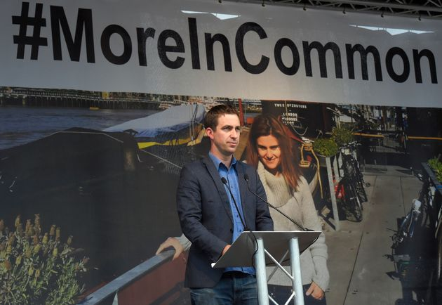 Brendan Cox, the husband of murdered Labour Party MP Jo Cox,(pictured behind him) speaks during a special...