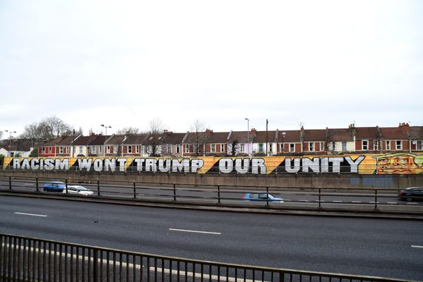Eight graffiti artists painted this 300-foot-long mural overlooking the M32 motorway in Bristol, England, in early February 2
