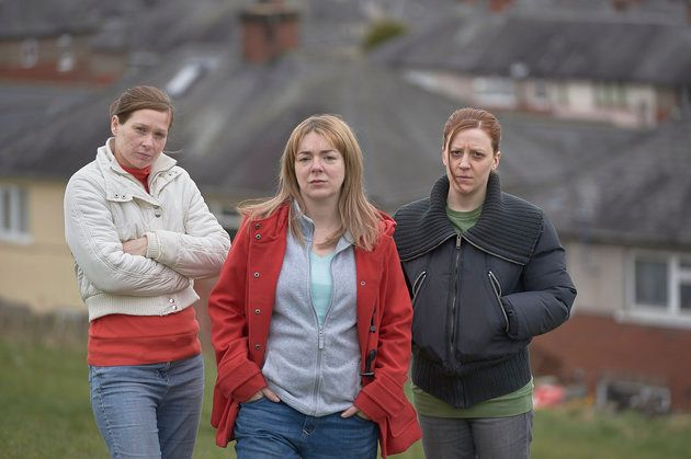 Karen Matthews is played by Gemma Whelan (right), supported by her neighbours Natalie Brown (Sian Brooke,...