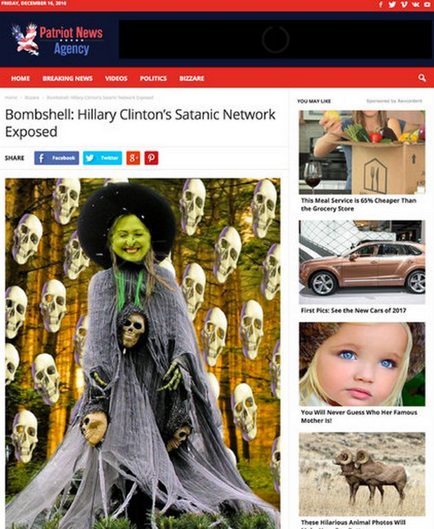 A picture from one of Dowson's websites claiming Hillary Clinton is linked to a satanic