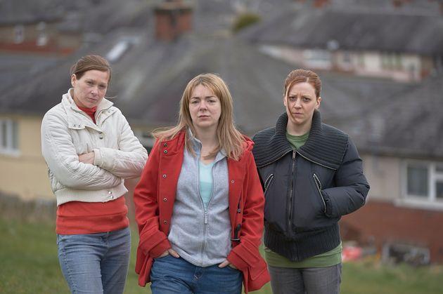 Karen Matthews played by Gemma Whelan (right) and neighbours Natalie Brown (Sian Brooke, left) and Julie...