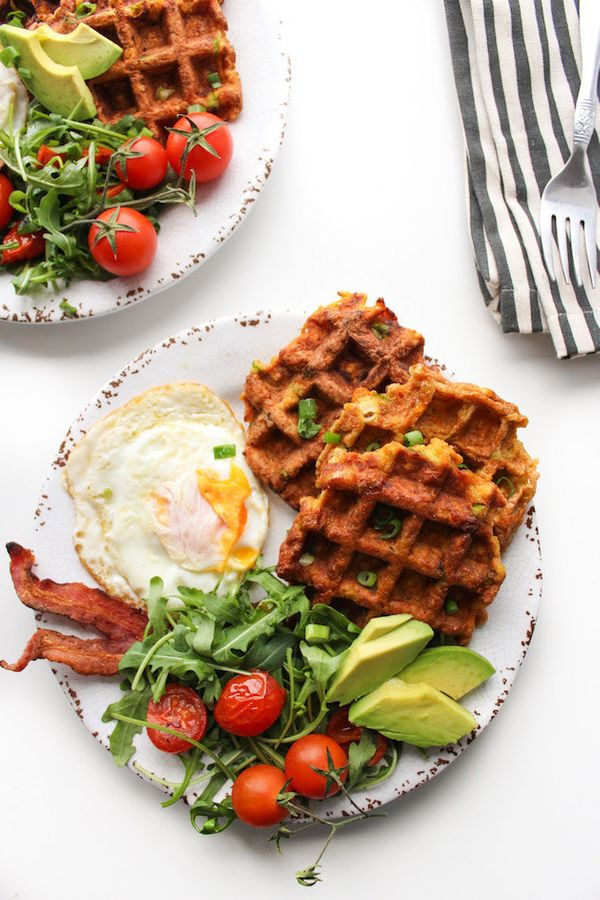 "<strong>Get the <a href=""http://www.asaucykitchen.com/paleo-sweet-potato-waffles/"" target=""_blank"">Paleo Sweet Potato Waffles"