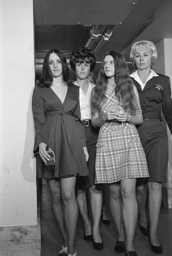 Susan Denise Atkins, left, and Patricia Krenwinkel, second from right, during one of many court hearings that took place afte