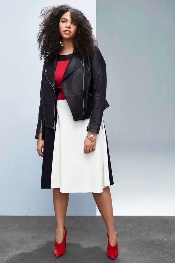 Leather Jacket $398, Fit and Flare Dress, $138