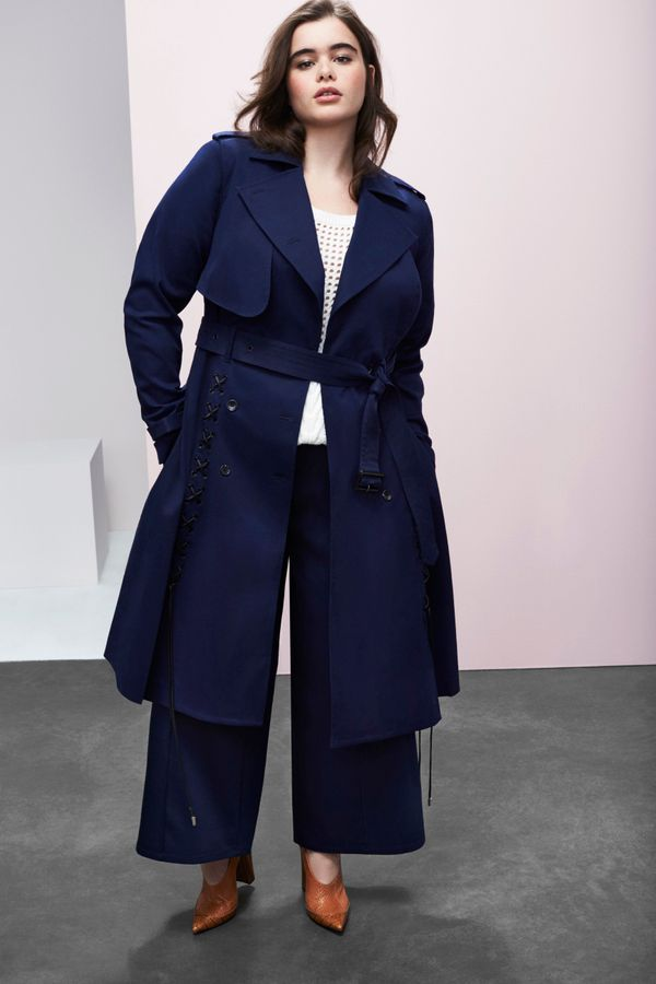 Trench Coat, $198, Sweater, $88Wide Leg Pant, $88
