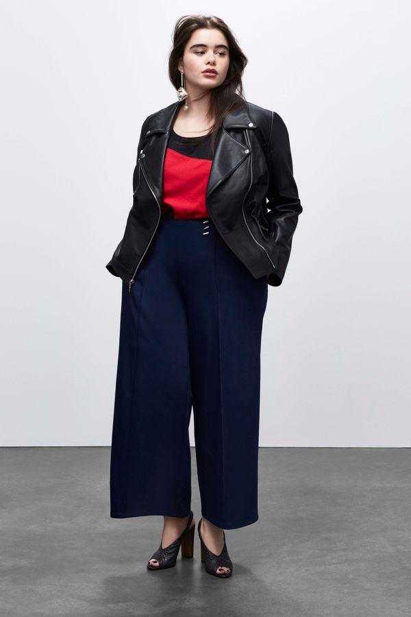 Leather Jacket, $398 Wide Leg Pant, $88, T-Shirt, $38