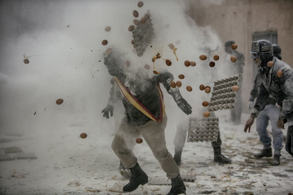 "On Dec. 28 each year, the ""Floured War"" takes place in Ibi in the province of Alicante, Spain. During the festival, the"