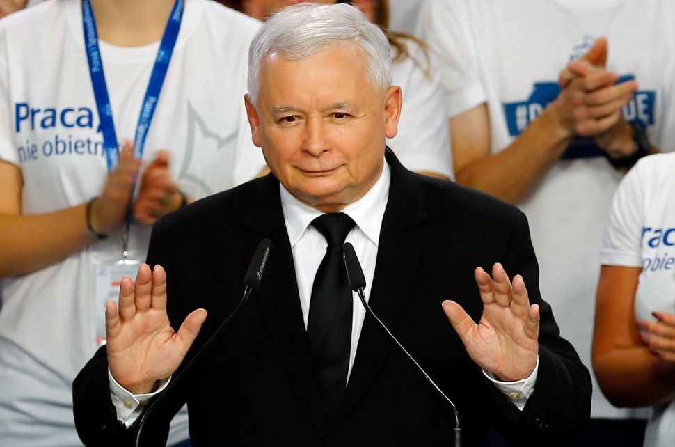 The leader of PiS, then Poland's main opposition party, Jaroslaw Kaczyński after the exit poll results are announced in Warsa