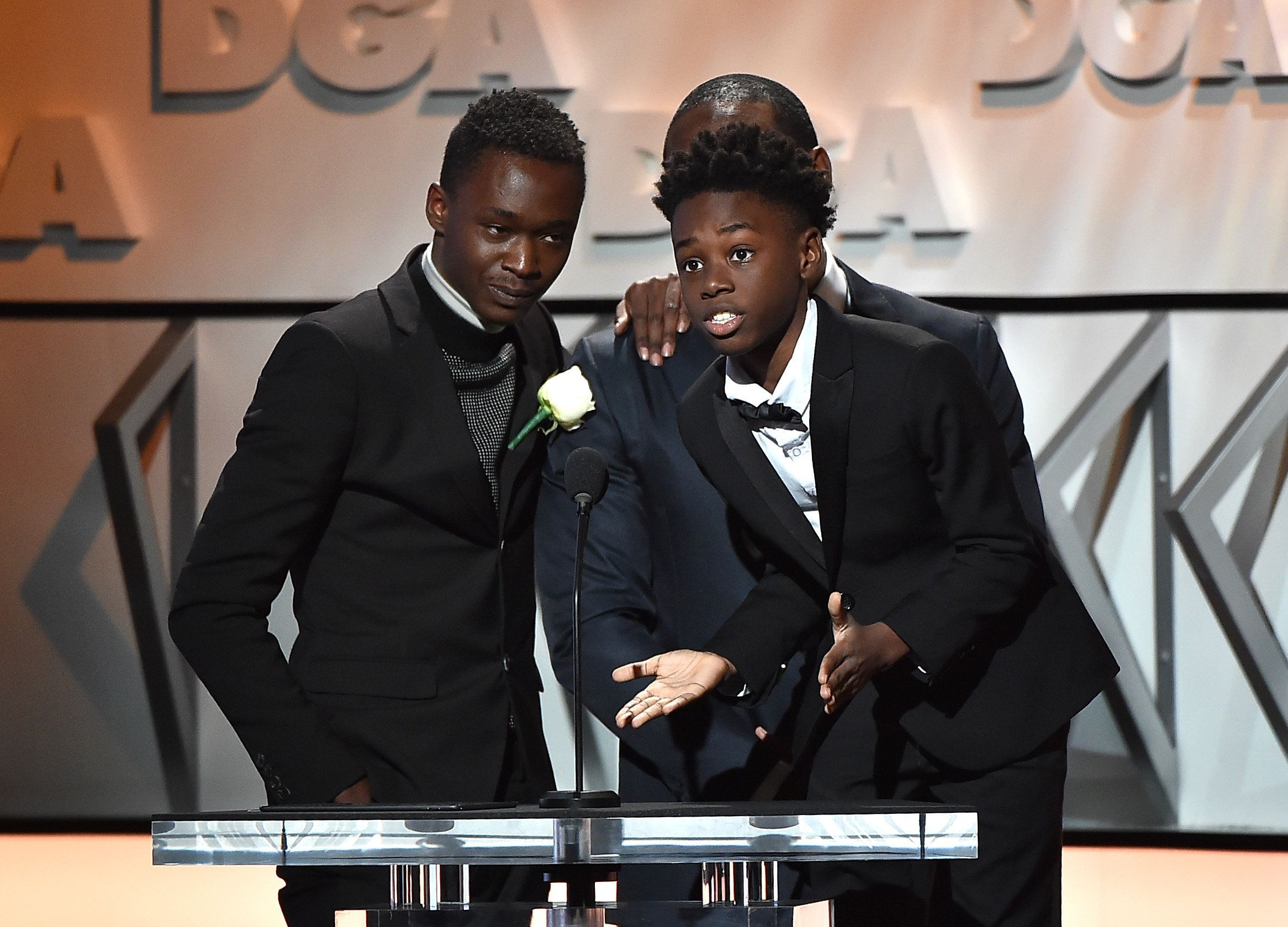 BEVERLY HILLS, CA - FEBRUARY 04:  (L-R) Actors Trevante Rhodes, Ashton Sanders and Alex R. Hibbert onstage during the 69th Annual Directors Guild of America Awards at The Beverly Hilton Hotel on February 4, 2017 in Beverly Hills, California.  (Photo by Alberto E. Rodriguez/Getty Images for DGA)