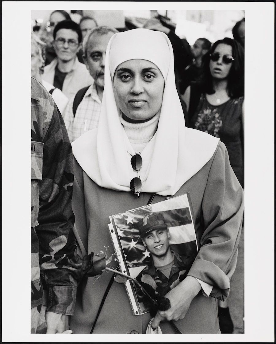 "Mel Rosenthal, ""Debbie Almontaser with photograph of son Yousif,"" 2001"