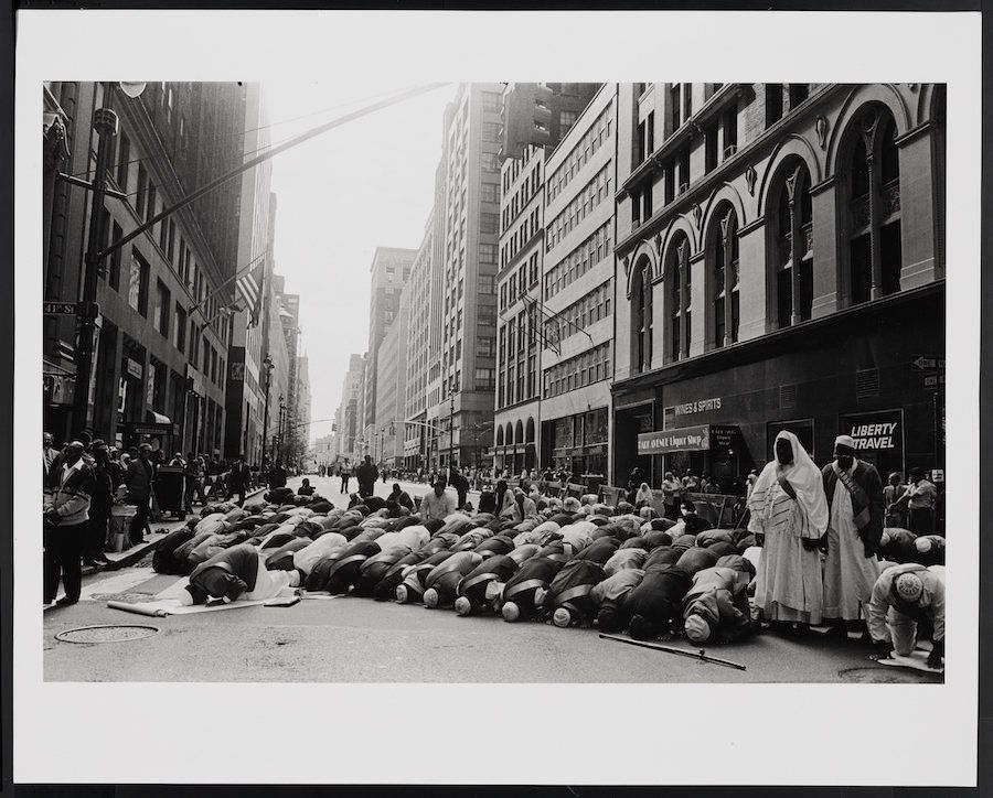 "Ed Grazda, ""Prayer before Muslim Day Parade, Manhattan, NY"" ca 1995"