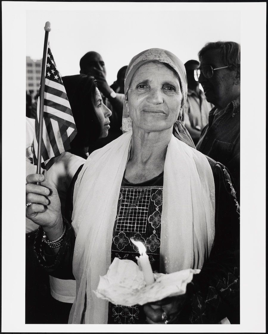 "Mel Rosenthal, ""Palestinian woman with American flag,"" ca 2001"