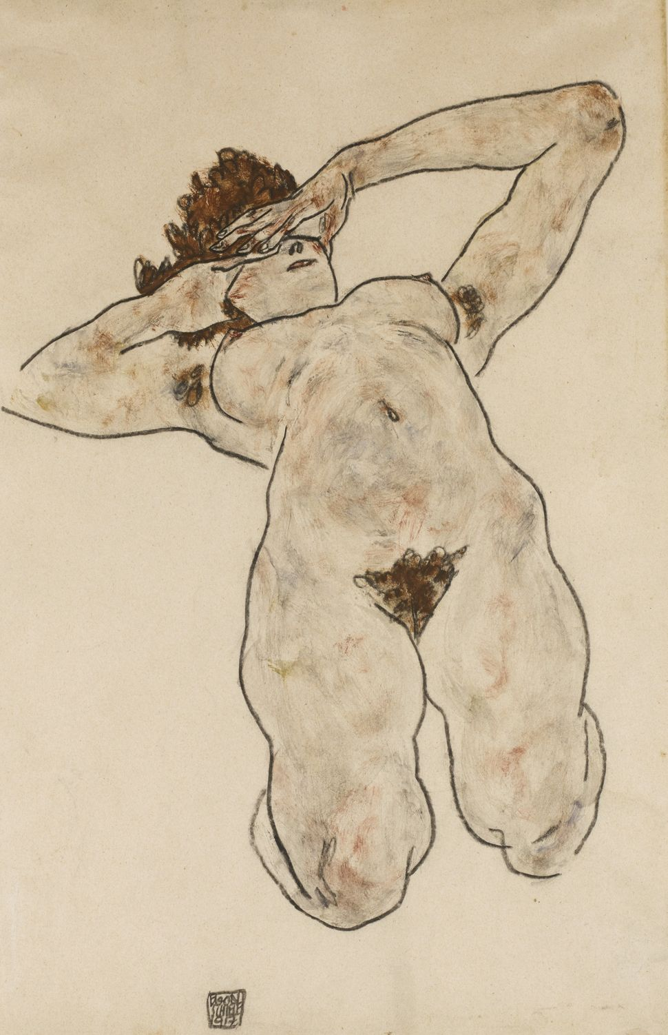 "Egon Schiele, ""Akt (Nude),"" 1917. (Est. £180,000 to £250,000.)"