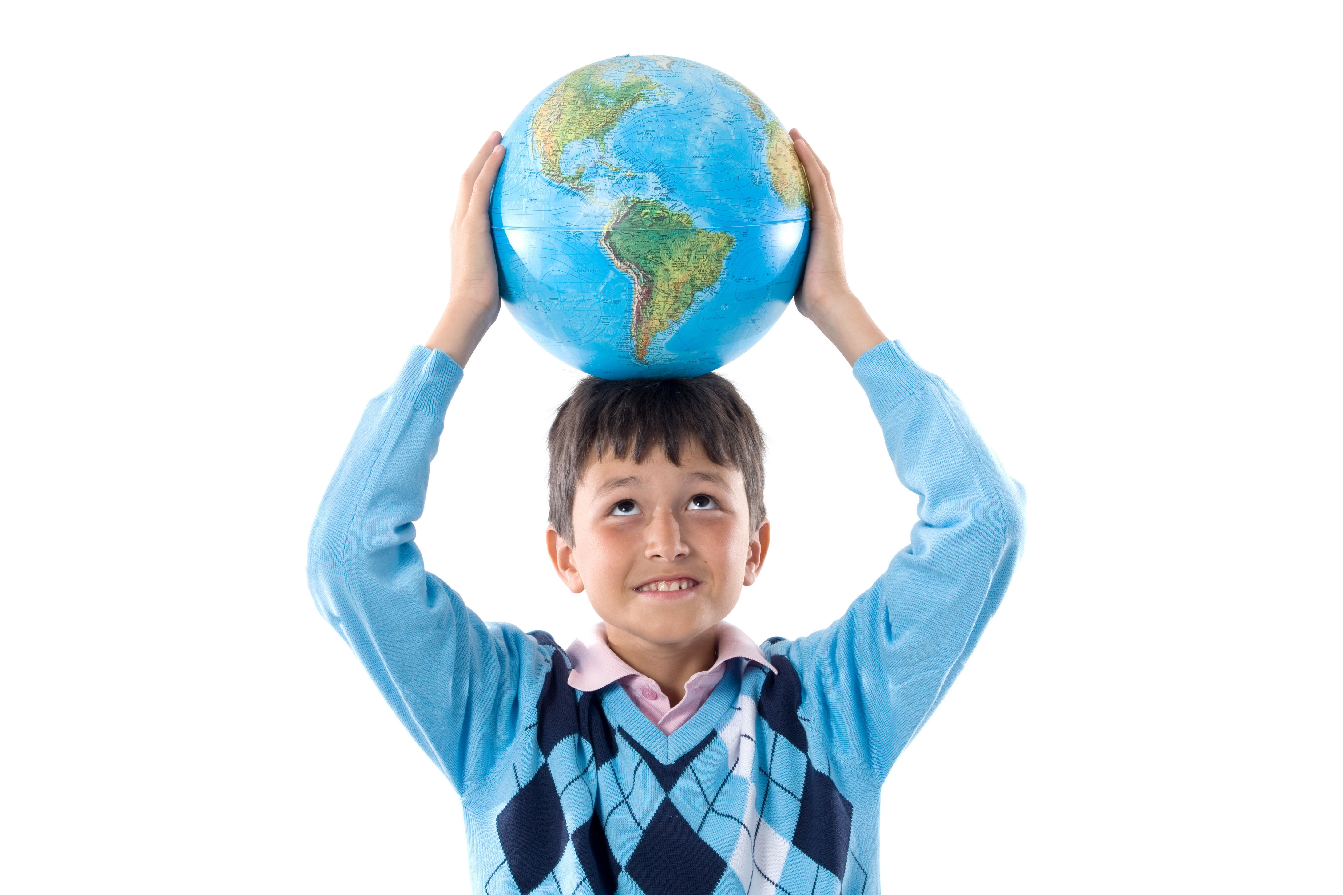 Boy with a globe of the world on the head isolated over white