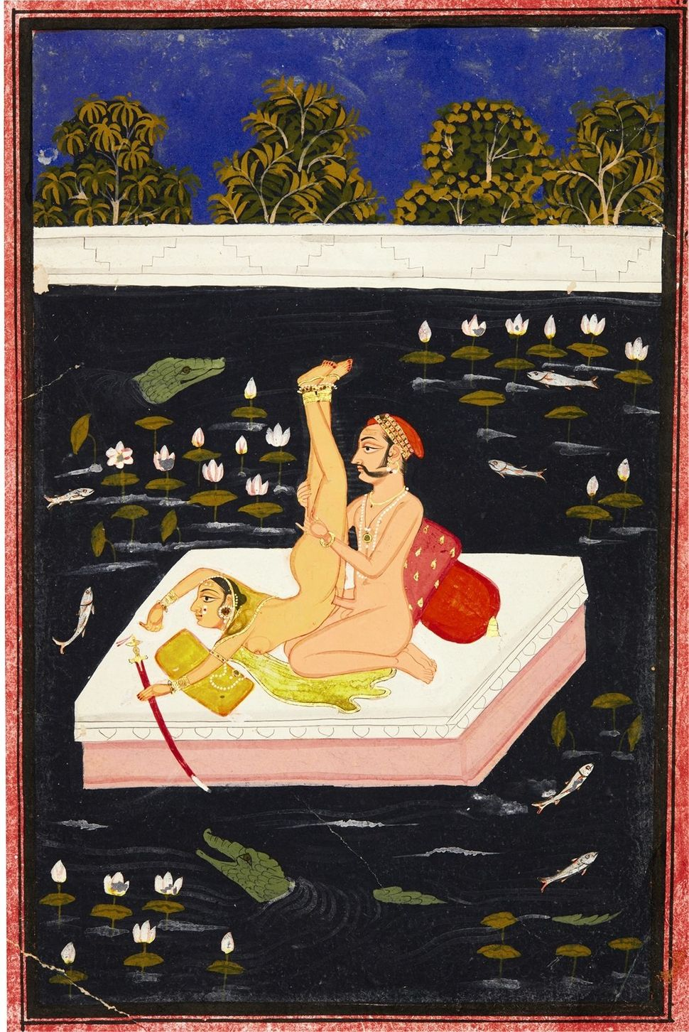 A couple making acrobatic love on a lake, Mewar, North India, 18th century. (Est. £2,000 to £3,000.)