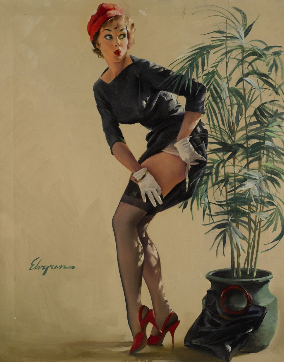 "Gil Elvgren, ""Modest Maneuver,"" 1969. (Est. £25,000 to £35,000.)"