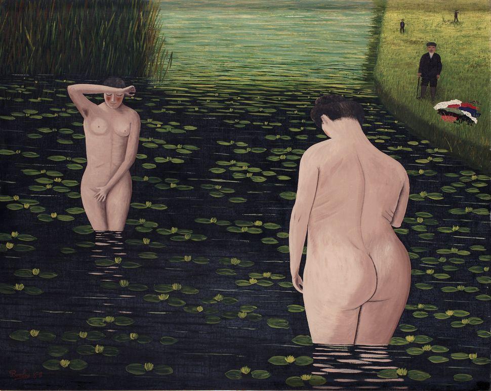 """Camille Bombois, """"Baigneuses surprises (Suprised bathers),"""" 1930. (Est. £30,000 to £40,000.)"""