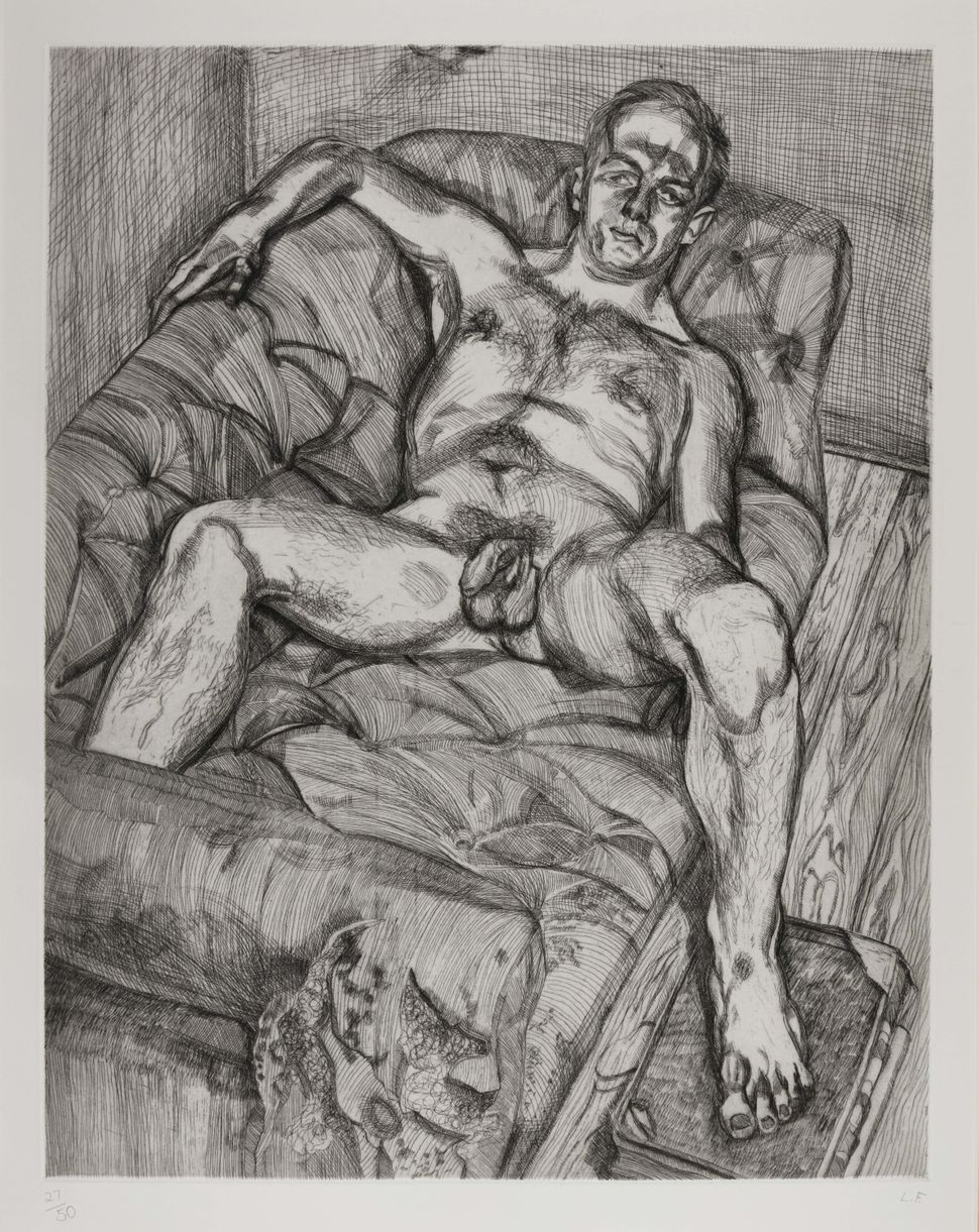 "Lucian Freud, ""Man Posing,"" 1985. (Est. £15,000 to £20,000.)"