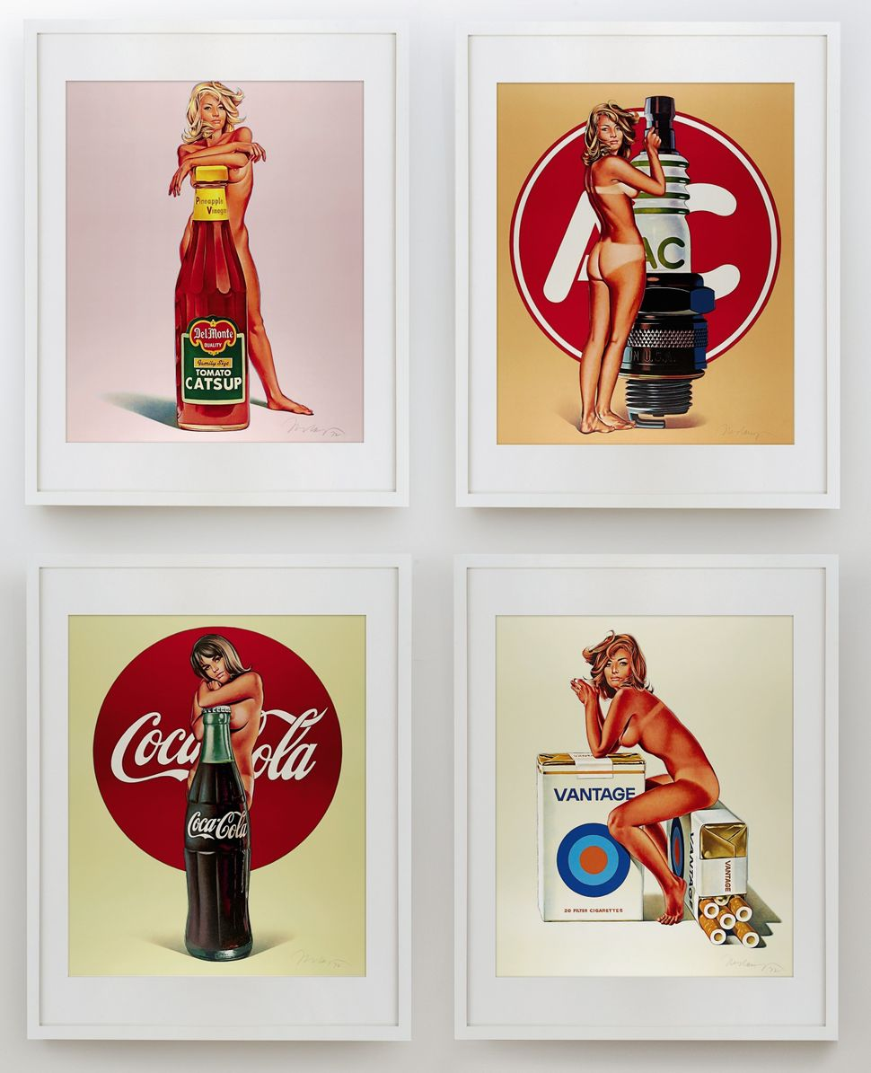 "Mel Ramos, ""Tomato Catsup; Tobacco Red; Lola Cola; and A.C. Annie,"" 1971-1972. (Est. £5,000 to £7,000.)"