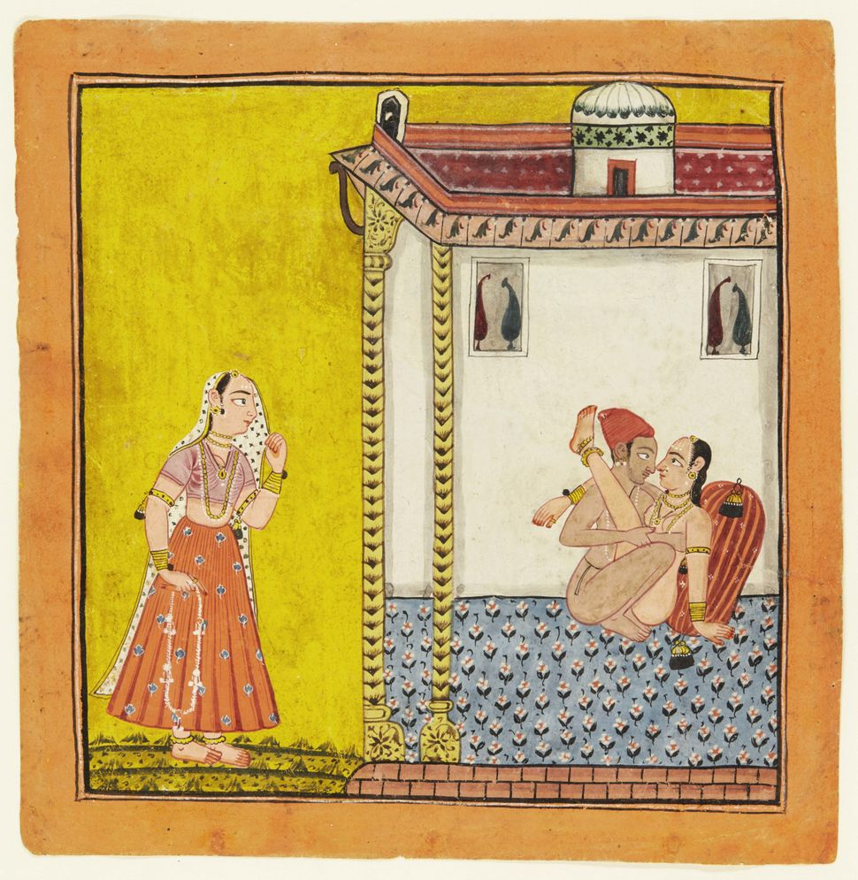 A loving couple watched by a maiden, North India, circa 1700-1740. (Est. £3,000 to £4,000.)