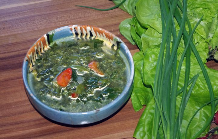 <p><em>Ciorba de salata, or lettuce soup</em>, a Romanian specialty usually consumed in the spring. </p>