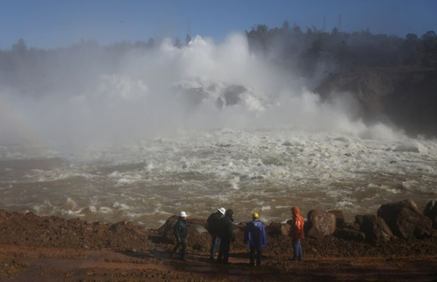 Water is released from the Lake Oroville Dam after an evacuation was ordered for communities downstream...