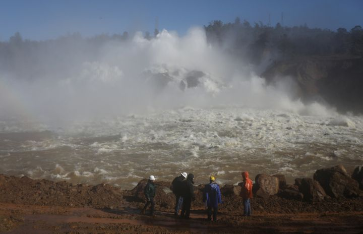 Water is released from the Lake Oroville Dam after an evacuation was ordered for communities downstream from the dam in Orovi