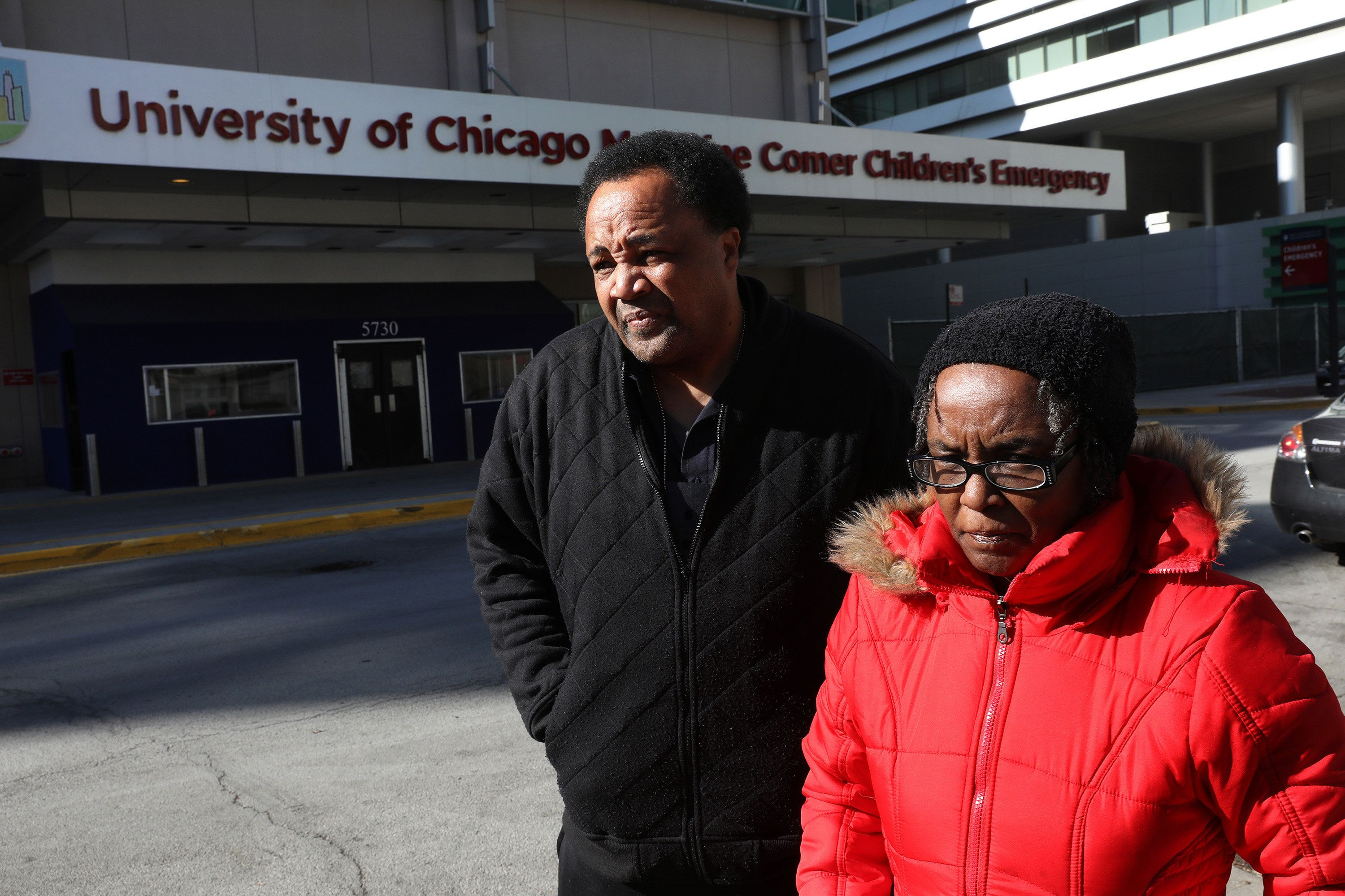 Andrew Holmes, Takiya's cousin, and Patsy Holmes, her grandmother, at University of Chicago Comers Children's Hospital on Feb