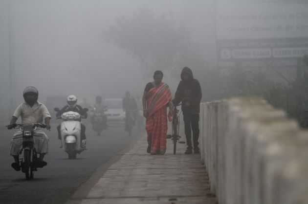 The eastern city of Bhubaneswar, India, is shrouded on Feb.