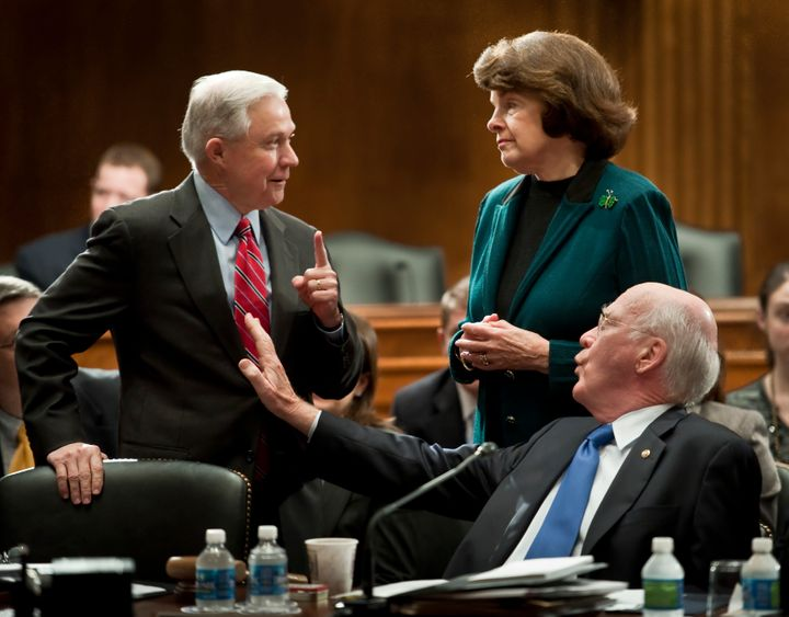 Then-Sen. Jeff Sessions with Democratic Sens. Dianne Feinstein and Patrick Leahy. Sessions told Feinstein and Leahy duri