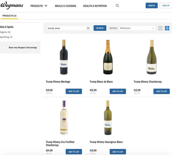 Trump wines listed on the Wegmans website.