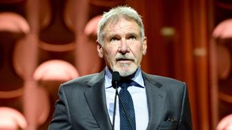 HOLLYWOOD, CA - DECEMBER 08:  Actor Harrison Ford speaks onstage during Ambassadors for Humanity Gala Benefiting USC Shoah Foundation at The Ray Dolby Ballroom at Hollywood & Highland Center on December 8, 2016 in Hollywood, California.  (Photo by Michael Kovac/Getty Images)