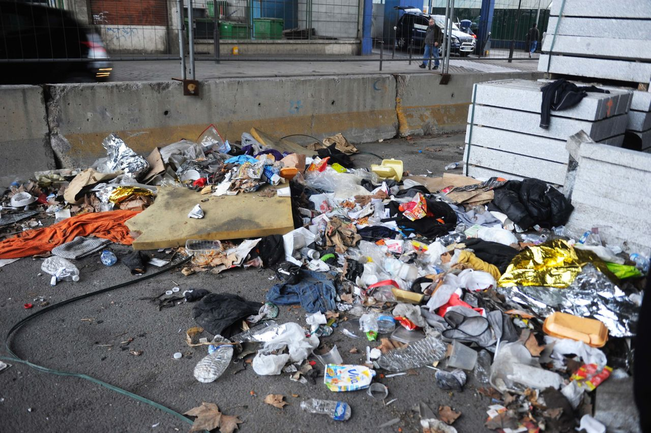 The outdoor areas that refugees and migrants are sleeping in are massive trash dumps.