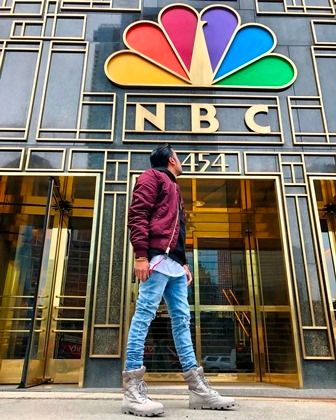 <em>Fam Mirza pictured in front of NBC Studio</em>