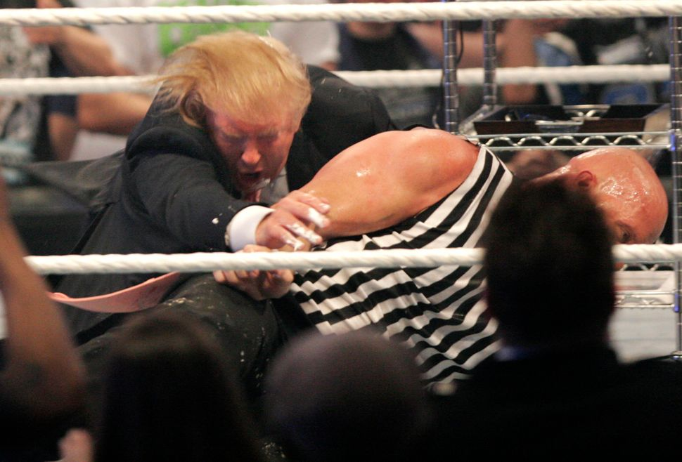 Trump didn't lose his hair in The Battle of the Billionaires, but the Stone Cold stunner did ruffle his famous coif.
