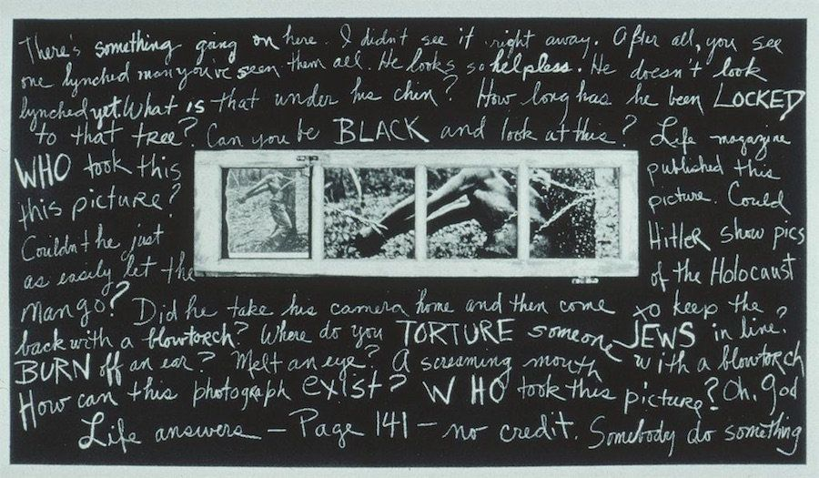 "Pat Ward Williams, ""Accused/Blowtorch/Padlock,"" 1986, wood, tar paper, gelatin silver prints, film positive, paper, pastel, a"