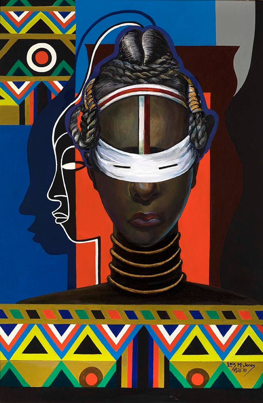 "Loïs Mailou Jones, ""Initiation, Liberia,"" 1983, acrylic on canvas, 35 1/4 x 23 1/4 in. (89.6 x 59.1 cm)"