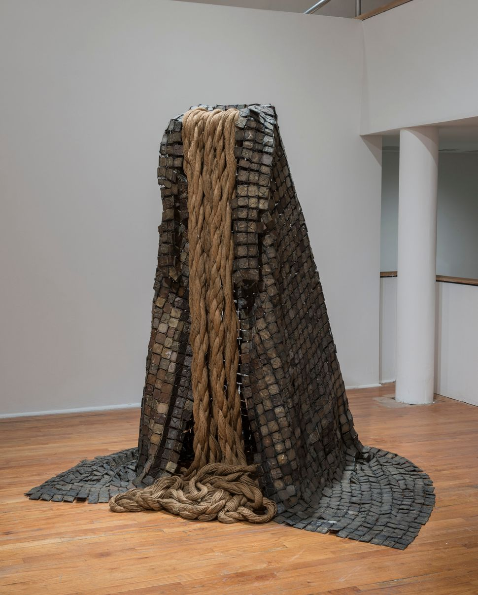 "Barbara Chase-Riboud, ""Le Manteau (The Cape),"" 1973, cronze, hemp rope, copper."