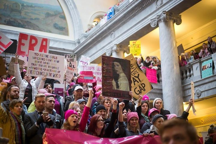 Demonstrators flooded the state Capitol in Salt Lake City on Jan. 23, the first day of Utah's legislative session, to defend