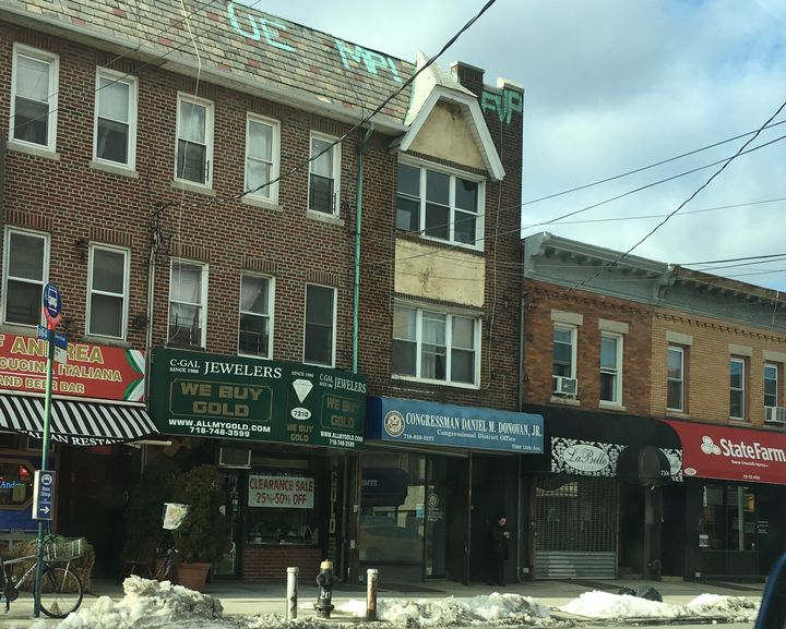 One of two modest district offices of US Representative Daniel Donovan,  7308 13th Avenue, in Dyker Heights, Brooklyn. He is