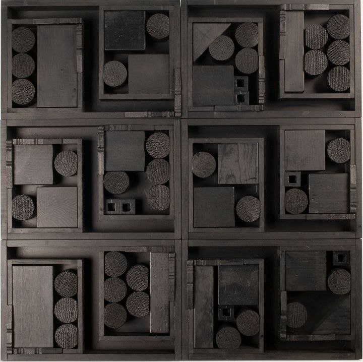 And this one.<strong> </strong>(Louise Nevelson's untitled work made of wood and black paint, 1985.)