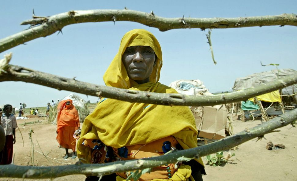 A displaced Sudanese woman stands behind her shelter which is under construction at  the Autash camp, in the north of Nyala,