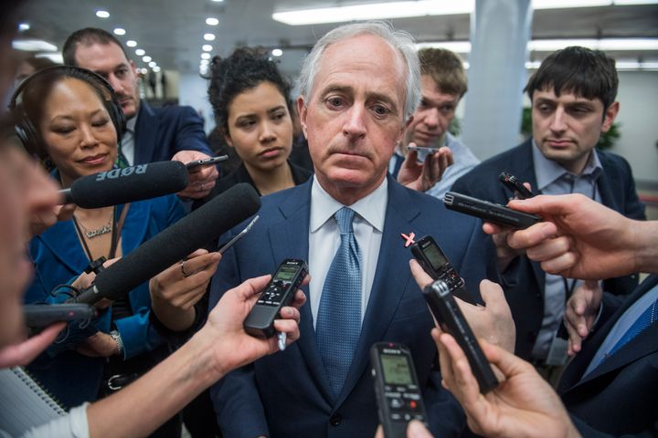 Sen. Bob Corker takes questions on reports that members of Trump's team were in contact with Russian officials throughou