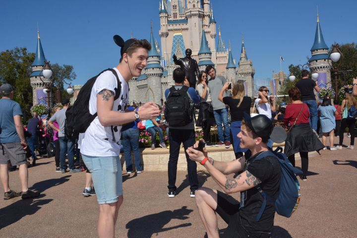 "Gregory Anderson, right, said planning his Disney World proposal to fiancé Craig Moss was ""magically stressful.""&"