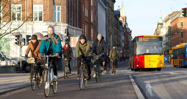 <p>Cyclists in Noerrebrograde, Copenhagen</p>
