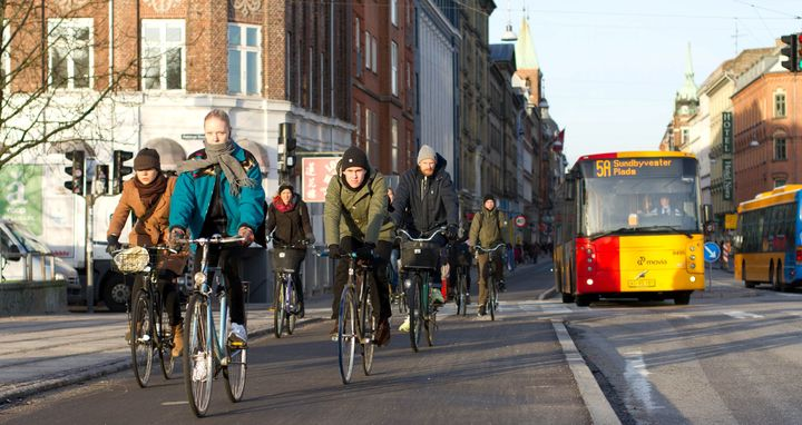 Cyclists in  Noerrebrograde, Copenhagen