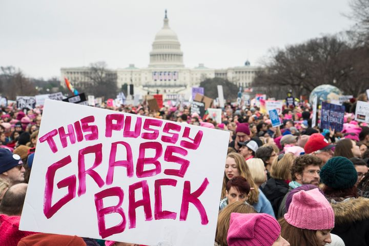 Demonstrators stand in front of the U.S. Capitol building during the Women's March on Washington on Jan. 21.