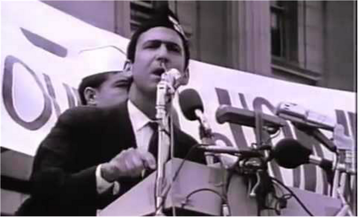 David Kleinberg protests the Vietnam war on the steps of San Francisco City Hall, Ocotober 12, 1968